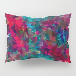 psychedelic geometric triangle abstract pattern in pink red blue Pillow Sham