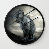eric fan Wall Clocks featuring Armadillo by Eric Fan & Viviana Gonzalez by Viviana Gonzalez