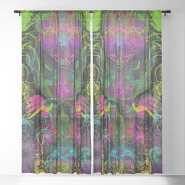 Crabgrass Entrancement (totem, psychedelic, visionary) Sheer Curtain