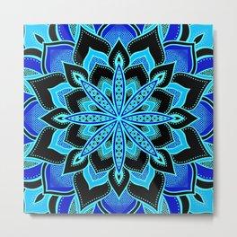 Blue on Blue Flower Mandala Metal Print