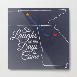 She Laughs at the Days to Come Metal Print