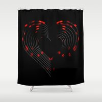 valentines Shower Curtains featuring Valentines - Light My Fire by Khana's Web