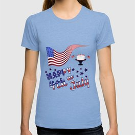 Happy 4th of July Flag & Cake - Independence Day T-shirt