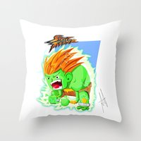 street fighter Throw Pillows featuring STREET FIGHTER - BLANCA by mirojunior