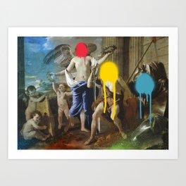 Spray Paint Pop Art Graffiti Le Triomphe de David Nicolas Poussin Remix Art Print