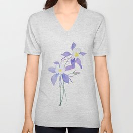 purple columbine flower Unisex V-Neck