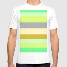 Just Stripes  MEDIUM White Mens Fitted Tee