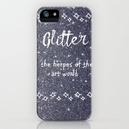 Quirky funny glitter - black iPhone Case