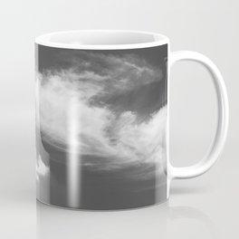 Black and white dead tree and sky with wispy clouds Coffee Mug