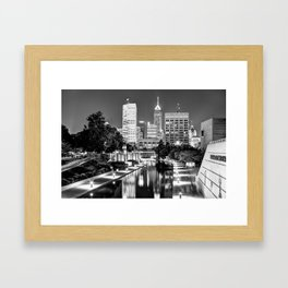 Canal Walk to Indianapolis Indiana's Skyline - Black-White Framed Art Print