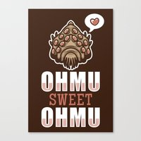 nausicaa Canvas Prints featuring Ohmu Sweet Ohmu by adho1982