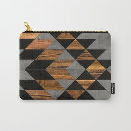 Urban Tribal Pattern 10 - Aztec - Concrete and Wood Carry-All Pouch