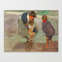 On the Beach by Joaquín Sorolla, 1908 Canvas Print