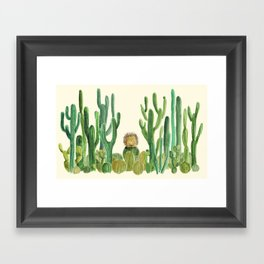 In my happy place - hedgehog meditating in cactus jungle Framed Art Print