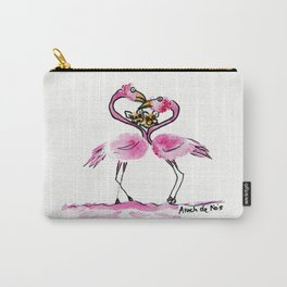 Flamingo & french bulldog love painting Carry-All Pouch