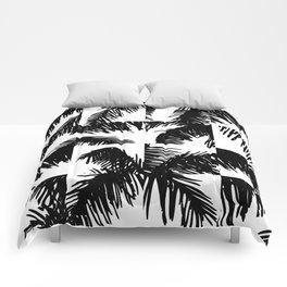 Palm Leaf Pattern Black Comforters