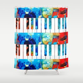 Colorful Piano Art by Sharon Cummings Shower Curtain