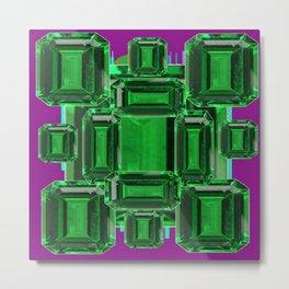 Emerald Gems May Babies Birthstones on Purple Metal Print