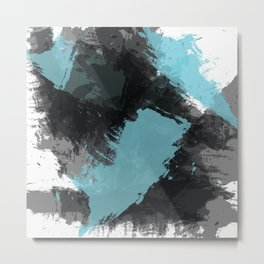 Black and Blue Paint Splash Metal Print