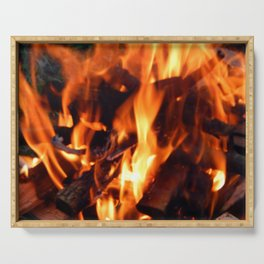 Fire, fire burning firewood Serving Tray