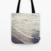 waves Tote Bags featuring Ocean Waves Retro by Kurt Rahn