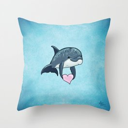 Love Ya! ~ Baby Dolphin by Amber Marine ~ Blue ~ (Copyright 2014) Throw Pillow