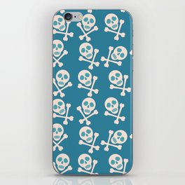 Blue seamless background. Skull and bones. Pirates. iPhone Skin