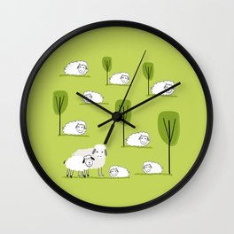 Spring and easter time with sheep Wall Clock