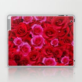 MIXED PINK & RED SPRING ROSES GARDEN  RED VIGNETTE Laptop & iPad Skin