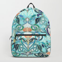 Ocean Aqua Art Nouveau Pattern with Peach Flowers Backpack