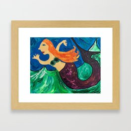 She Glides Through Churning Waters Framed Art Print