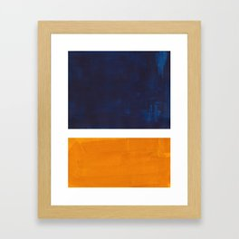 Navy Blue Yellow Ochre Abstract Minimalist Rothko Colorful Mid Century Color Block Pattern Framed Art Print