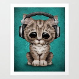 Cute Kitten Dj Wearing Headphones on Blue Art Print