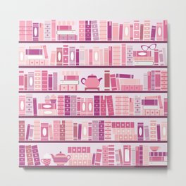 Bookcase Pattern Romance Pink Books Metal Print