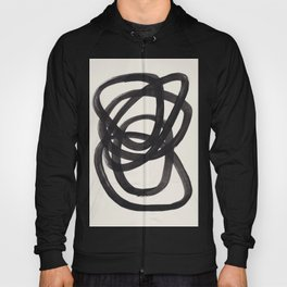 Mid Century Modern Minimalist Abstract Art Brush Strokes Black & White Ink Art Spiral Circles Hoody
