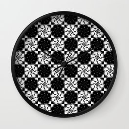 Black and white floral seventies style mosaic Wall Clock