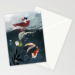 """Catfish"" - cute fantasy cat mermaids illustration Stationery Cards"