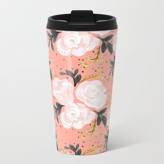 Sparkling Rosé - soft coral Metal Travel Mug