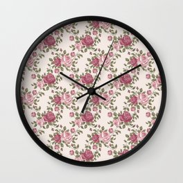 Shabby vintage pink burgundy green rose flowers Wall Clock
