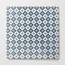 Tile pattern - Blue and White Metal Print