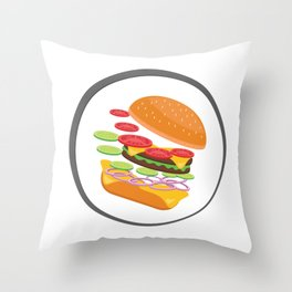 Awesome Burger falling down - I love Burger Throw Pillow
