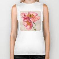 peach Biker Tanks featuring Like Light through Silk - peach / pink translucent poppy floral by micklyn
