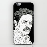 swanson iPhone & iPod Skins featuring Ron Swanson by Andy Christofi
