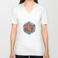 flower of life V-neck T-shirts featuring Flower of Life by Klara Acel