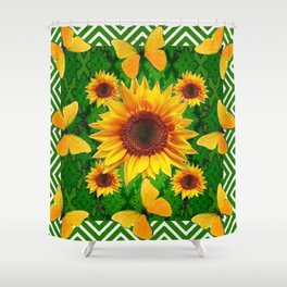 Green Yellow Butterflies Sunflowers Flowers  Art Shower Curtain