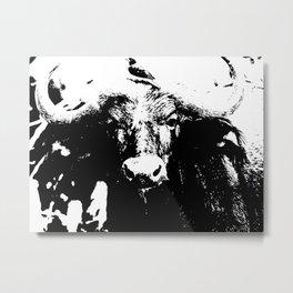 Small bird on big bull Metal Print