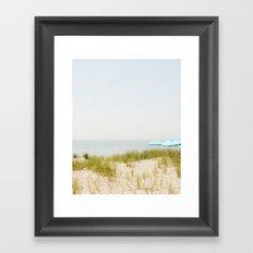 Blue Beach Umbrellas Framed Art Print