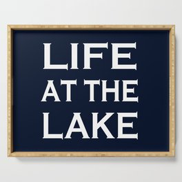 Life At The Lake - Navy Blue and White Serving Tray
