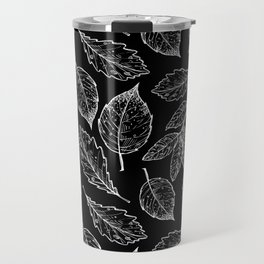 Autumn Leaves Black & White Pattern Travel Mug