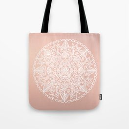 White Mandala on Rose Gold Tote Bag